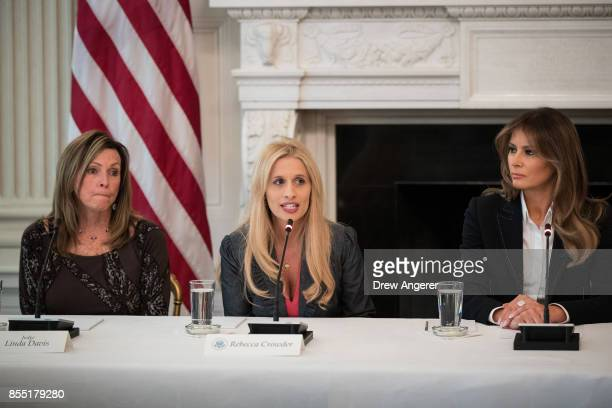 Judge Linda Drew Rebecca Crowder executive director of Lily's Place in West Virginia and First Lady Melania Trump attend a listening session...
