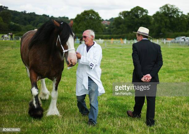 Judge makes his decision during the heavy horse event during the Osmotherley Country Show on August 5, 2017 in Osmotherley, England. The annual show...