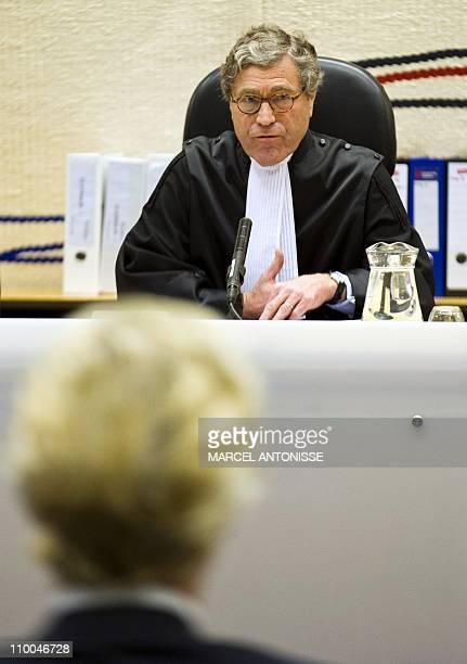 Judge Marcel van Ooosten speaks to Dutch farright leader Geert Wilders on trial for inciting racial hatred and antiMuslim discrimination on March 14...