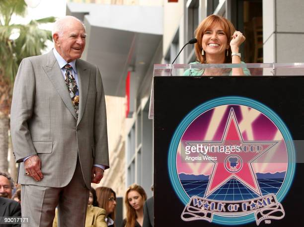 Judge Marilyn Milian adresses the crowd during the ceremony honoring Judge A Wapner with a star on the Hollywood Walk of Fame on November 12 2009 in...