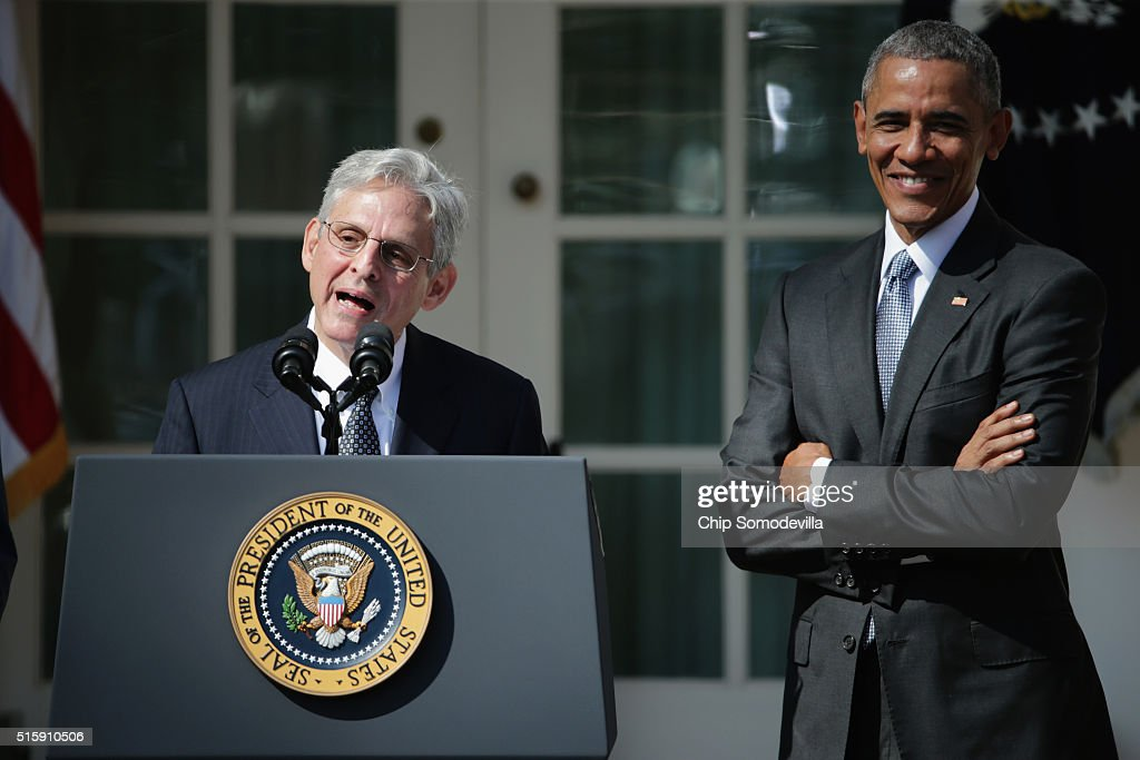 Judge Merrick B. Garland speaks after being nominated to the US Supreme Court as U.S. President Barack Obama looks on, in the Rose Garden at the White House, March 16, 2016 in Washington, DC. Garland currently serves as the chief judge on the United States Court of Appeals for the District of Columbia Circuit, and if confirmed by the US Senate, would replace Antonin Scalia who died suddenly last month.