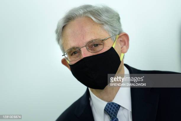Judge Merrick Garland arrives for a confirmation hearing for the position of US Attorney General before the Senate Judiciary Committee on Capitol...