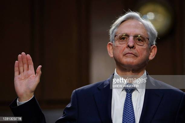Judge Merrick Garland is sworn in to testify before a Senate Judiciary Committee hearing on his nomination to be US Attorney General on Capitol Hill...
