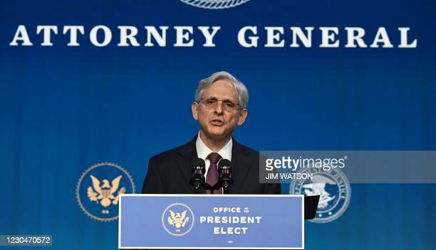 Judge Merrick Garland nominated by US President-elect Joe Biden to be attorney general delivers remarks at The Queen theater January 7, 2021 in...