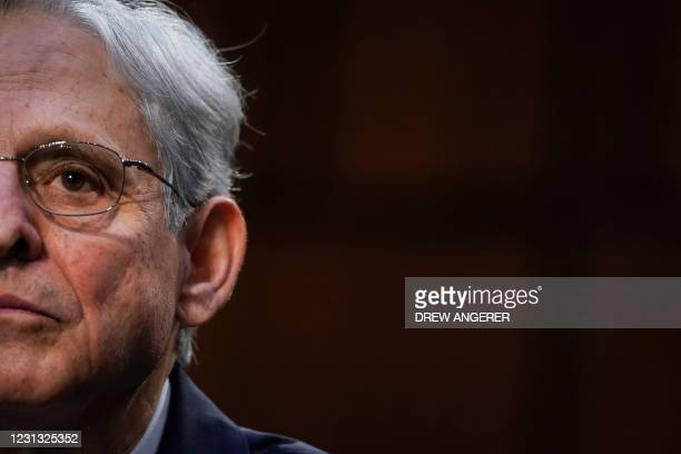 Judge Merrick Garland testifies before a Senate Judiciary Committee hearing on his nomination to be US Attorney General on Capitol Hill in...
