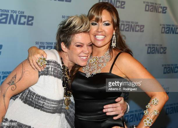 Judge Mia Michaels and TV judge Mary Murphy arrive at the finale of So You Think You Can Dance held at the Kodak Theater on August 6 2009 in...