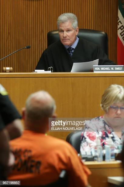 Judge Michael W Sweet speaks to Joseph James DeAngelo during his arraignment on two charges of murder April 27 in Sacramento California Investigators...
