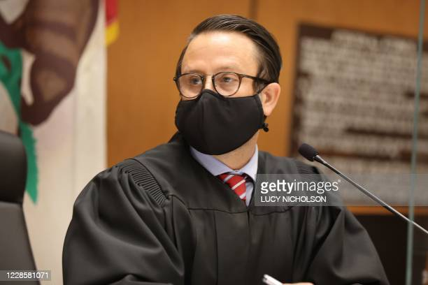 Judge Miguel Espinoza speaks at the arraignment of actor Danny Masterson at Los Angeles Superior Court Los Angeles California September 18 2020 The...
