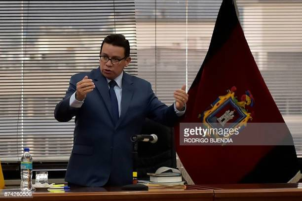 Judge Miguel Jurado speaks at the start of a pretrial hearing for VicePresident Jorge Glas in the National Court in Quito Ecuador on November 14 2017...
