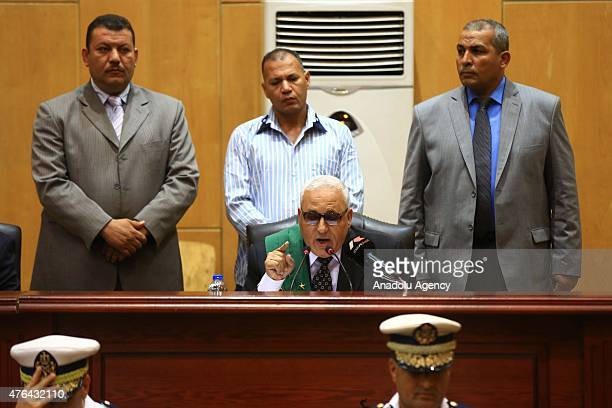 Judge Mohamed Said Sherbiny speaks during the trial of Port Said case in Cairo Egypt on June 9 2015 An Egyptian court on Tuesday sentenced 11 people...