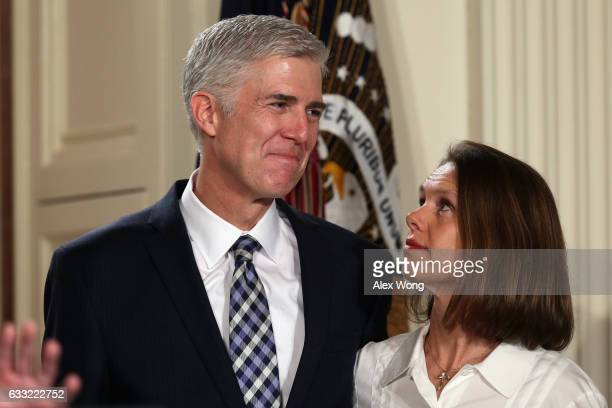 Judge Neil Gorsuch acknowledges the crowd along with his wife Marie Louise speaks after US President Donald Trump nominated him to the Supreme Court...