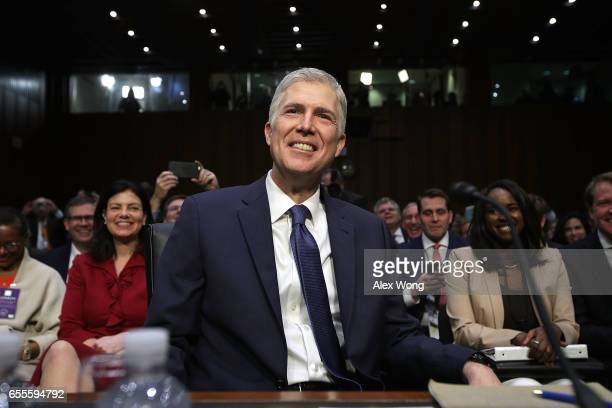 Judge Neil Gorsuch arrives for the first day of his Supreme Court confirmation hearing before the Senate Judiciary Committee in the Hart Senate...