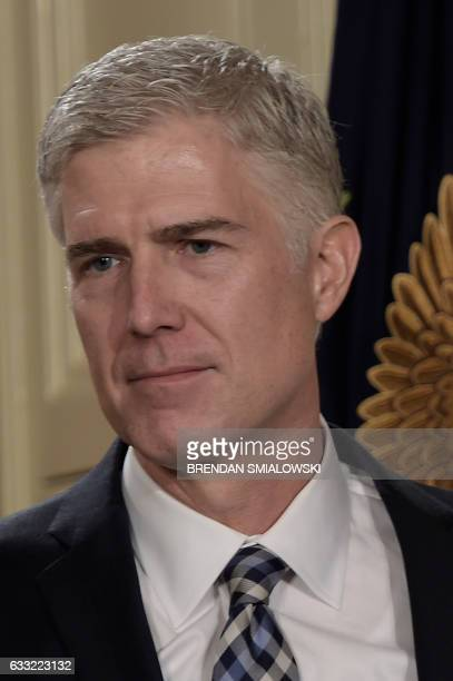 Judge Neil Gorsuch looks on after US President Donald Trump nominated him for the Supreme Court at the White House in Washington DC on January 31...