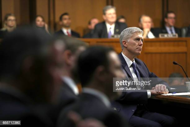 Judge Neil Gorsuch looks on during the first day of his Supreme Court confirmation hearing before the Senate Judiciary Committee in the Hart Senate...