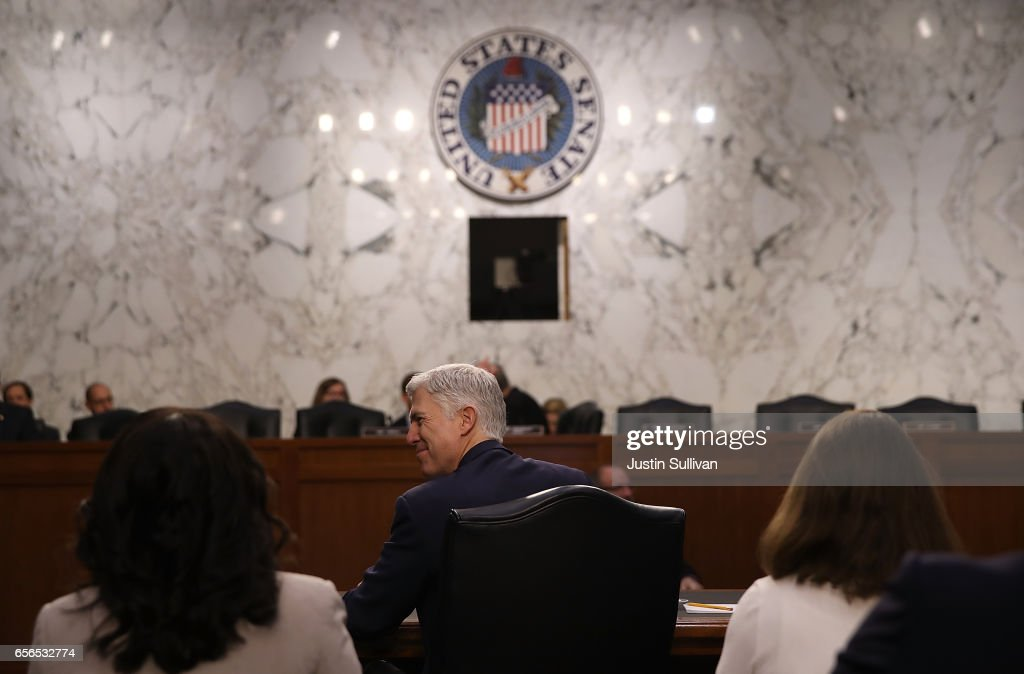 Judge Neil Gorsuch looks on during the third day of his Supreme Court confirmation hearing before the Senate Judiciary Committee in the Hart Senate Office Building on Capitol Hill, March 22, 2017 in Washington. Gorsuch was nominated by President Donald Trump to fill the vacancy left on the court by the February 2016 death of Associate Justice Antonin Scalia.