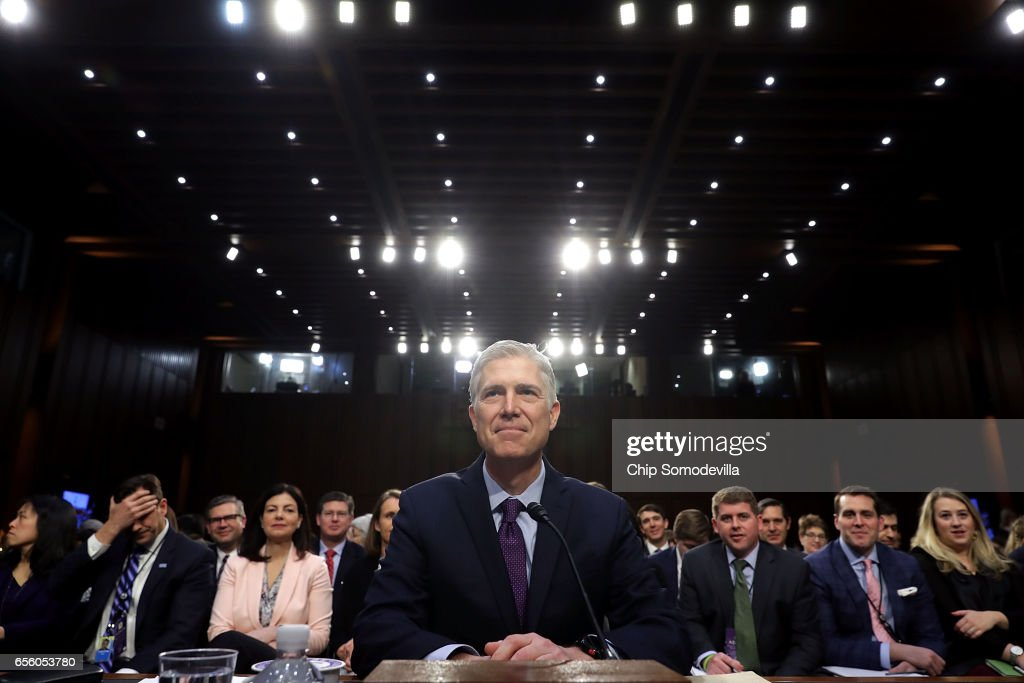 Judge Neil Gorsuch prepares to testify during the second day of his Supreme Court confirmation hearing before the Senate Judiciary Committee in the Hart Senate Office Building on Capitol Hill March 20, 2017 in Washington, DC. Gorsuch was nominated by President Donald Trump to fill the vacancy left on the court by the February 2016 death of Associate Justice Antonin Scalia.