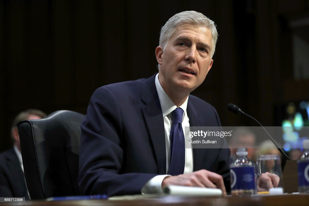 Judge Neil Gorsuch speaks during the first day of his Supreme Court confirmation hearing before the Senate Judiciary Committee in the Hart Senate Office Building on Capitol Hill March 20, 2017 in Washington, DC. Gorsuch was nominated by President Donald Trump to fill the vacancy left on the court by the February 2016 death of Associate Justice Antonin Scalia.