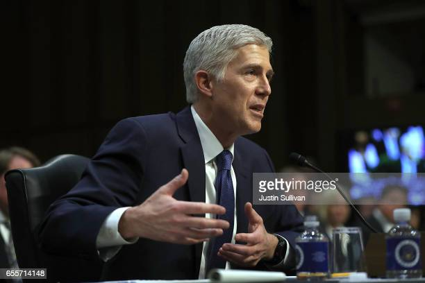 Judge Neil Gorsuch speaks during the first day of his Supreme Court confirmation hearing before the Senate Judiciary Committee in the Hart Senate...