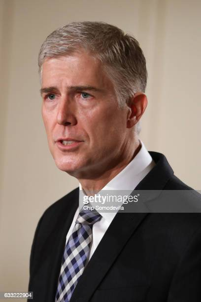 Judge Neil Gorsuch speaks to the crowd after US President Donald Trump nominated him to the Supreme Court during a ceremony in the East Room of the...