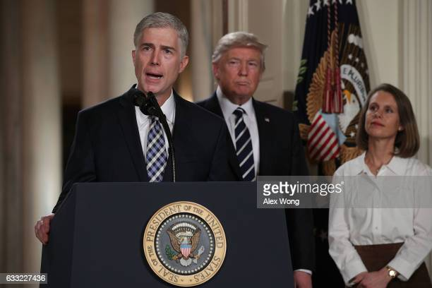 Judge Neil Gorsuch speaks to the crowd as his wife Louise looks on after US President Donald Trump nominated him to the Supreme Court during a...