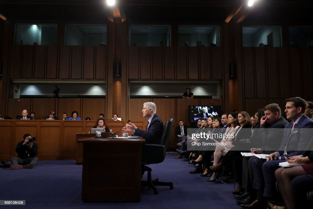 Judge Neil Gorsuch testifies during the second day of his Supreme Court confirmation hearing before the Senate Judiciary Committee in the Hart Senate Office Building on Capitol Hill March 20, 2017 in Washington, DC. Gorsuch was nominated by President Donald Trump to fill the vacancy left on the court by the February 2016 death of Associate Justice Antonin Scalia.