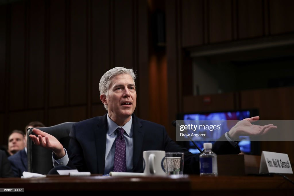 Judge Neil Gorsuch testifies during the second day of his Supreme Court confirmation hearing before the Senate Judiciary Committee in the Hart Senate Office Building on Capitol Hill, March 21, 2017 in Washington. Gorsuch was nominated by President Donald Trump to fill the vacancy left on the court by the February 2016 death of Associate Justice Antonin Scalia.