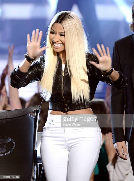 Judge Nicki Minaj is seen onstage during Fox's 'American Idol 2013' Finale Results Show at Nokia Theatre LA Live on May 16 2013 in Los Angeles...