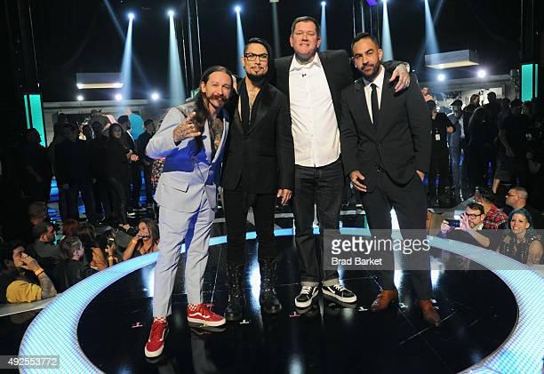 Judge Oliver Peck host Dave Navarro Season 6 winner Kruseman and judge Chris Nunez onstage at Spike TV's 'Ink Master' Season 6 LIVE Finale on October...