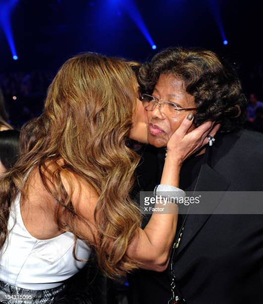 Judge Paula Abdul and Michael Jackson's mother Katherine Jackson in the audience at FOX's 'The X Factor' Top 7 Live Performance Show on November 30...