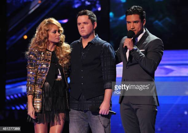 "Judge Paulina Rubio, eliminated contestant Tim Olstad, and host Mario Lopez on FOX's ""The X Factor"" Season 3 Top 10 To 8 Live Elimination Show on..."