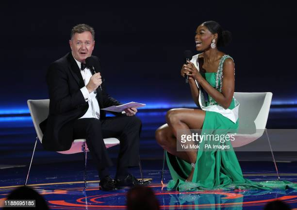 Judge Peirs Morgan interviewing semifinalist Miss Nigeria during the 69th Miss World annual final at the ExCel London