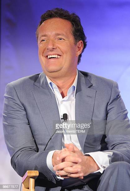 Judge Piers Morgan talks with reporters at the NBC Universal Summer Press Day on April 26 2010 in Pasadena California