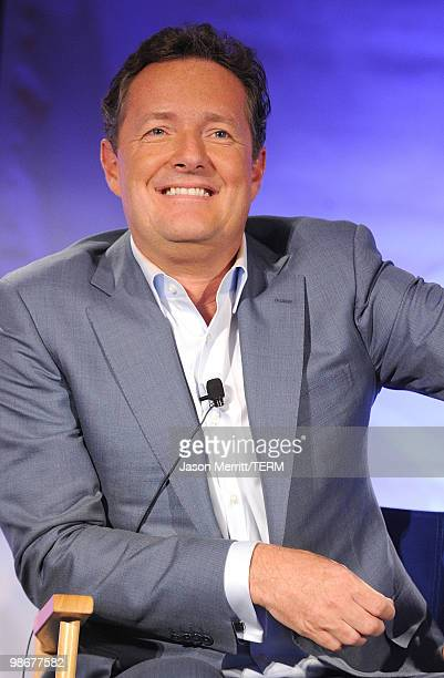 Judge Piers Morgan talks with reporters at the NBC Universal Summer Press Day on April 26, 2010 in Pasadena, California.