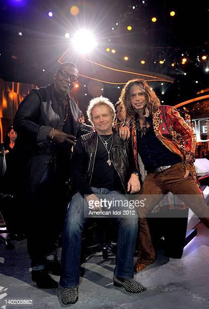 Judge Randy Jackson Aerosmith drummer Joey Kramer and judge Steven Tyler at FOX's American Idol Season 11 Top 12 Girls Live Performance Show on...