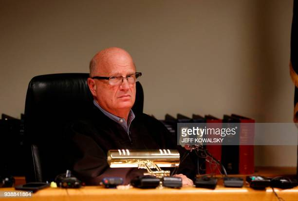Judge Richard Ball attends the arraignment of Dr William Strampel the former dean of Michigan State University's College of Osteopathic Medicine at...
