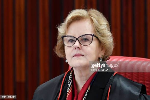 Judge Rosa Weber attends a meeting at the Supreme Electoral Court on whether to invalidate the 2014 presidential election because of illegal campaign...