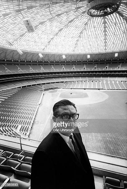 Judge Roy Hofheinz owner of the Houston Astros standing in the just completed Houston Astrodome