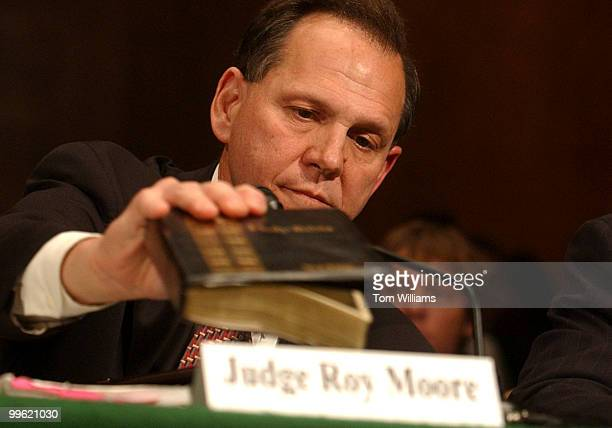 Judge Roy Moore former Chief Justice Supreme Court of Alabama prepares to testify before a Subcommittee on the Constitution Civil Rights and Property...