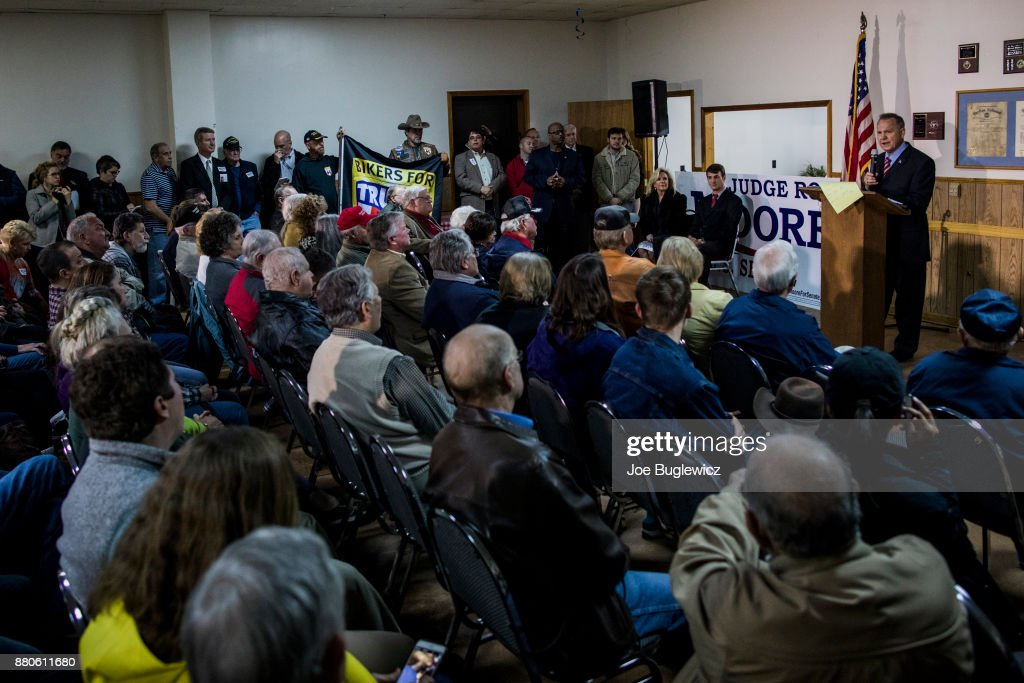 Judge Roy Moore holds a campaign rally on November 27, 2017 in Henagar, Alabama. Over 100 supporters turned out to the event packing the Henagar Event Center.