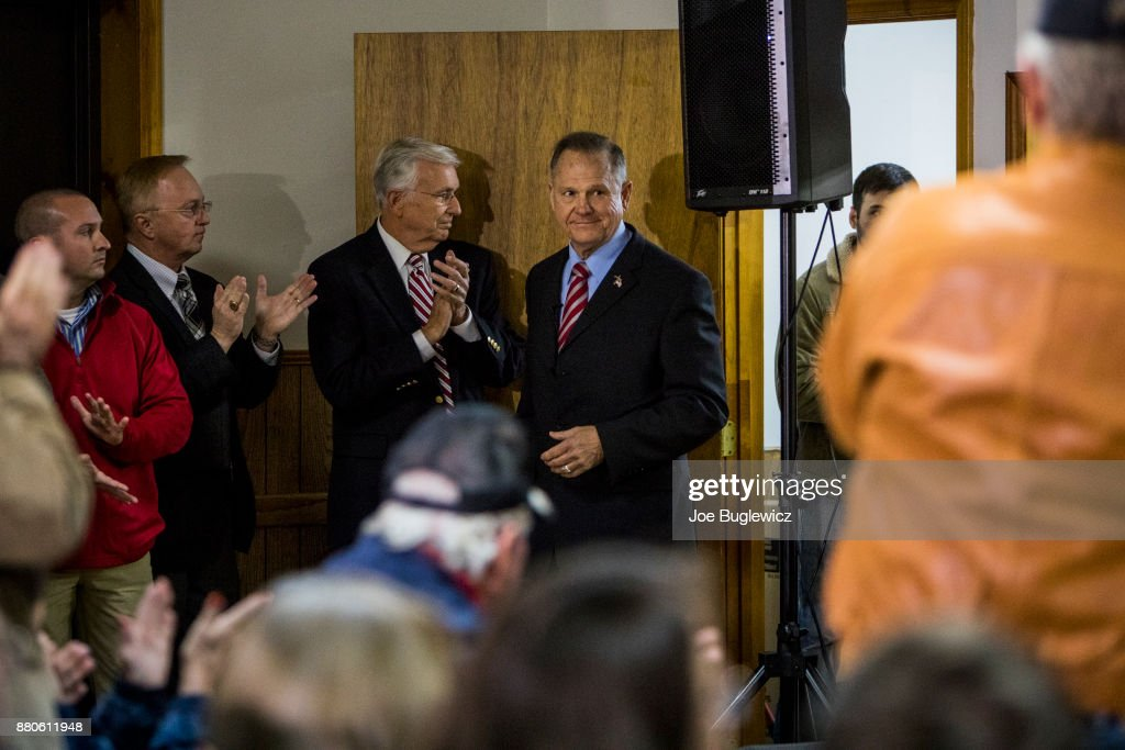 Judge Roy Moore is introduced during campaign rally on November 27, 2017 in Henagar, Alabama. Over 100 supporters turned out to the event packing the Henagar Event Center.