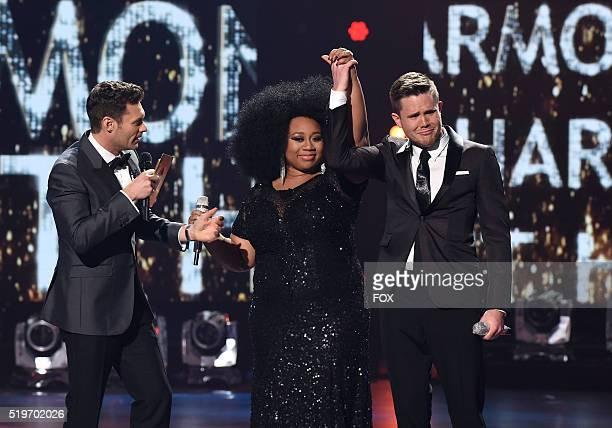 Judge Ryan Seacrest announces American Idol Season 15 winner Trent Harmon with runnerup La'Porsha Renae onstage at FOX's American Idol Season 15...