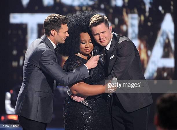 Judge Ryan Seacrest announces American Idol Season 15 winner Trent Harmon with runner-up La'Porsha Renae, onstage at FOX's American Idol Season 15...