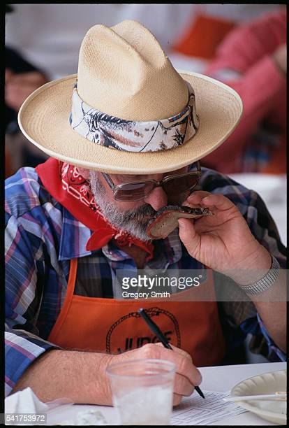 A judge samples entries at the annual World's Championship BarBQue Contest at the Houston Livestock Show and Rodeo