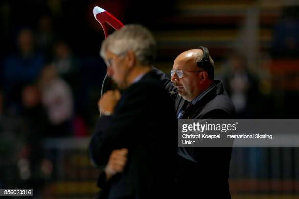 A judge shoost the starting sgnal during the Audi ISU World Cup Short Track Speed Skating at Bok Hall on September 30 2017 in Budapest Hungary