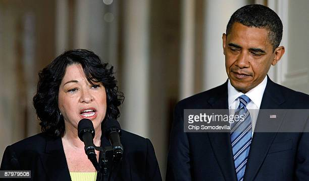 Judge Sonia Sotomayor makes brief remarks after US President Barack Obama announced that she is his choice to replace retiring Justice David Souter...
