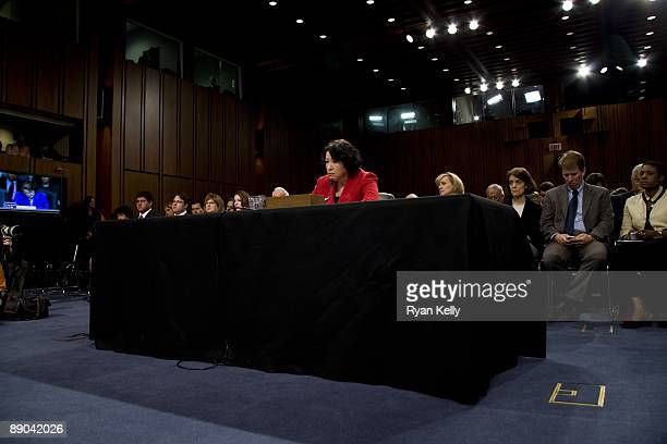 Judge Sonia Sotomayor testifies during the second day of her confirmation hearings in the Senate Judiciary committee