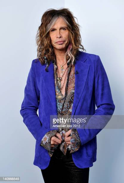 """Judge Steven Tyler backstage at FOX's """"American Idol"""" Season 11 Top 13 To 12 Live Elimination Show on March 8, 2012 in Hollywood, California."""