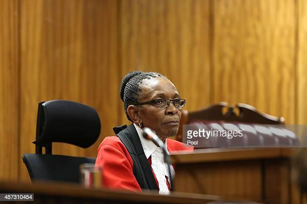 Judge Thokozile Masipa attends Oscar Pistorius's sentencing hearing in the Pretoria High Court on October 16 in Pretoria, South Africa. Judge...