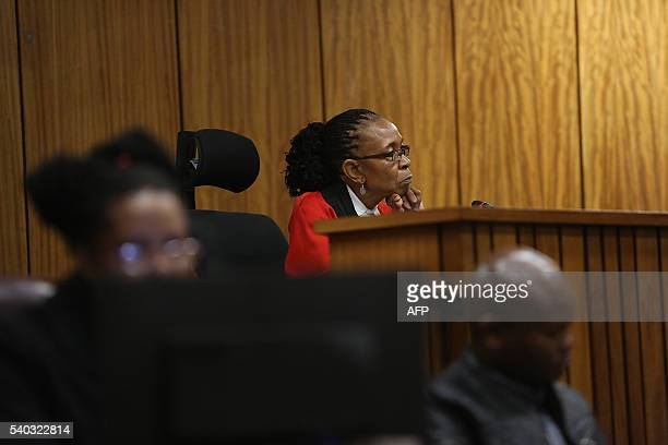 Judge Thokozile Masipa looks on at the Pretoria High Court, in Pretoria on June 15, 2016 during the resentencing hearing of South African Paralympic...