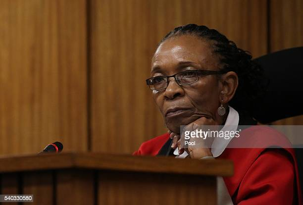 Judge Thokozile Masipa looks on during the third day of Oscar Pistorius' resentencing hearing at Pretoria High Court on June 15, 2016 in Pretoria,...